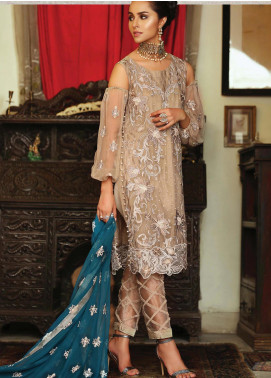 Majestic By EmbRoyal Embroidered Chiffon Unstitched 3 Piece Suit EMB19WQ 03 ASH PEARL - Luxury Collection