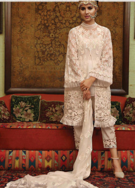Majestic By EmbRoyal Embroidered Chiffon Unstitched 3 Piece Suit EMB19WQ 04 FROSTED WHITE - Luxury Collection