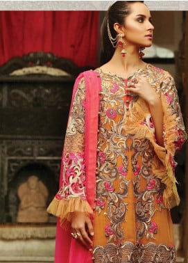 Majestic By EmbRoyal Embroidered Chiffon Unstitched 3 Piece Suit EMB19WQ 06 EXQUISITE RUST - Luxury Collection