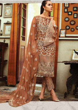 Majestic By EmbRoyal Embroidered Chiffon Unstitched 3 Piece Suit EMB19WQ 07 BRONZE GLAMOUR - Luxury Collection