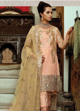 Majestic By EmbRoyal Embroidered Chiffon Unstitched 3 Piece Suit EMB19WQ 08 IMPERIAL ROSEATE - Luxury Collection