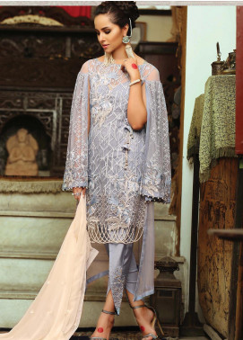 Majestic By EmbRoyal Embroidered Chiffon Unstitched 3 Piece Suit EMB19WQ 09 CRYSTAL HUE - Luxury Collection