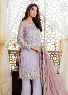 Majestic by Imrozia Embroidered Chiffon Unstitched 3 Piece Suit MJI19IM 01 RUFFLED LAVENDER - Luxury Collection
