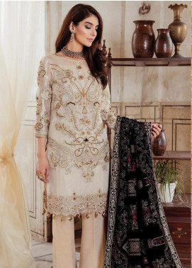 Majestic by Imrozia Embroidered Zari Unstitched 3 Piece Suit MJI19IM 02 DEW MULBERRY - Luxury Collection