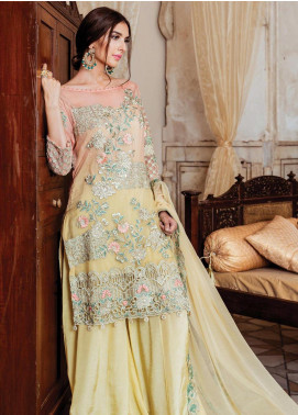 Majestic by Imrozia Embroidered Chiffon Unstitched 3 Piece Suit MJI19IM 04 CITRON RADIANCE - Luxury Collection