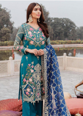 Majestic by Imrozia Embroidered Chiffon Unstitched 3 Piece Suit MJI19IM 05 WHIMSICAL SAPPHIRE - Luxury Collection