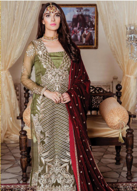 Majestic by Imrozia Embroidered Chiffon Unstitched 3 Piece Suit MJI19IM 06 PICKLED GARNET - Luxury Collection
