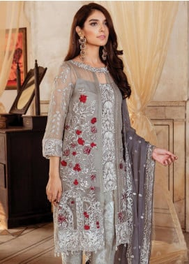Majestic by Imrozia Embroidered Chiffon Unstitched 3 Piece Suit MJI19IM 07 MOONSTRUCK ROUGE - Luxury Collection