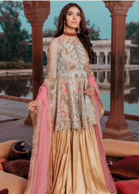 Majestic by Imrozia Embroidered Net Unstitched 3 Piece Suit MJI19IM 09 BLISHING CELESTE - Luxury Collection