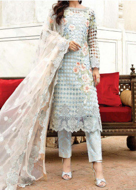 Majestic Eleonora by Imrozia Embroidered Organza Unstitched 3 Piece Suit MJI20E 3004 Enchantress Sky - Luxury Collection