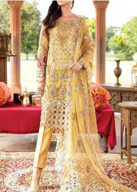 Majestic Eleonora by Imrozia Embroidered Zari Net Unstitched 3 Piece Suit MJI20E 3005 Musturd Frost - Luxury Collection
