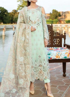 Majestic Eleonora by Imrozia Embroidered Chiffon Unstitched 3 Piece Suit MJI20E 3007 Mint Blossom - Luxury Collection