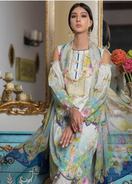Malhar Embroidered Schiffli Unstitched 3 Piece Suit ML19SC 08 - Spring / Summer Collection