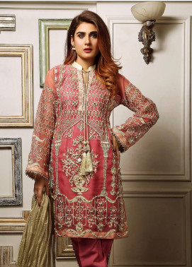 Maliha Kamal Embroidered Chiffon Unstitched 3 Piece Suit MK19C 064 ROSE DOSE - Luxury Collection