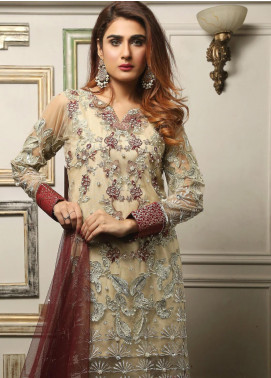Maliha Kamal Embroidered Chiffon Unstitched 3 Piece Suit MK19C 069 BAMBOO - Luxury Collection