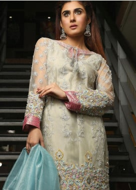 Maliha Kamal Embroidered Chiffon Unstitched 3 Piece Suit MK19C 070 WHEAT GRASS - Luxury Collection