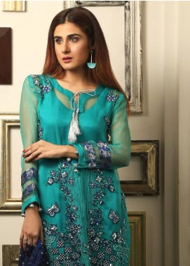 Maliha Kamal Embroidered Chiffon Unstitched 3 Piece Suit MK19C 073 TURQUISE ALERT - Luxury Collection