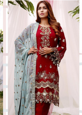 Maliha Kamal Embroidered Chiffon Unstitched 3 Piece Suit MK20C 175 GARNET - Luxury Collection