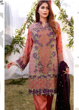 Maliha Kamal Embroidered Chiffon Unstitched 3 Piece Suit MK20C 179 CORAL - Luxury Collection
