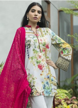 Malkah by ZS Textile Embroidered Lawn Unstitched 3 Piece Suit MLK19F 09 - Festive Collection
