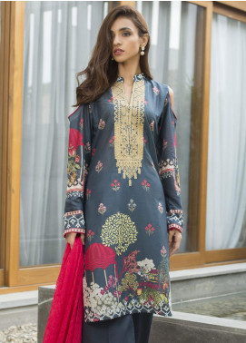 Malkah by ZS Textile Embroidered Lawn Unstitched 3 Piece Suit MLK19F 14 - Festive Collection