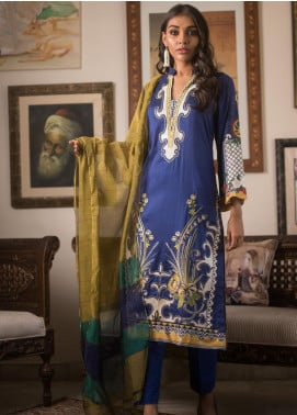 Malkah by ZS Textile Embroidered Lawn Unstitched 3 Piece Suit MLK19MS 1 - Mid Summer Collection