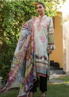Malkah by ZS Textile Embroidered Lawn Unstitched 3 Piece Suit MLK19MS 12 - Mid Summer Collection