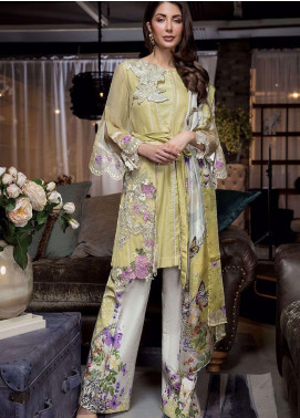 Manara Embroidered Chiffon Unstitched 3 Piece Suit MNA19C 004 MARY GOLD - Eid Collection
