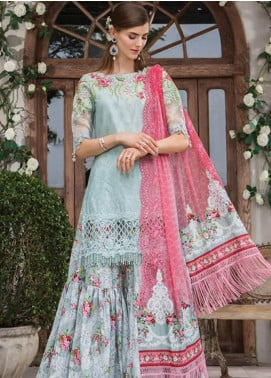 Maria B Embroidered Lawn Unstitched 3 Piece Suit MBE19L 601 - Eid Collection