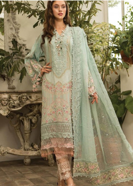 Maria B Embroidered Lawn Unstitched 3 Piece Suit MBE19L 604 - Eid Collection