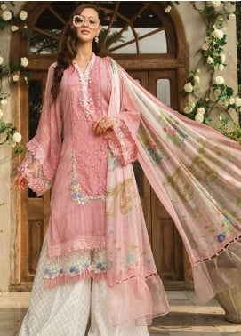 Maria B Embroidered Cotton Net Unstitched 3 Piece Suit MBE19L 606 - Eid Collection