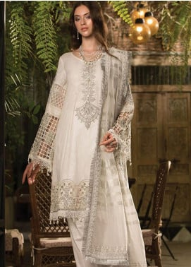 Maria B Embroidered Lawn Unstitched 3 Piece Suit MBE19L 607 - Eid Collection