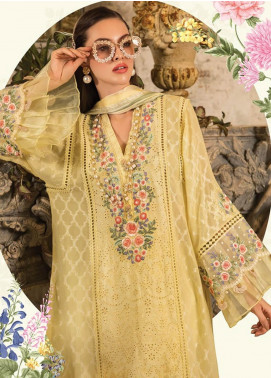 Maria B Embroidered Jacquard Unstitched 3 Piece Suit MBE19L 610 - Eid Collection
