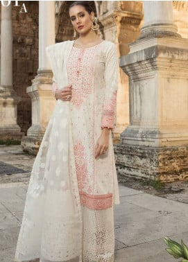 Maria B Embroidered Lawn Unstitched 3 Piece Suit MB19L 01A - Spring / Summer Collection