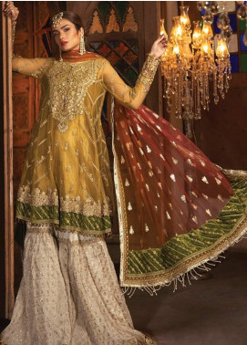 Maria B Embroidered Zari Net Unstitched 3 Piece Suit MB19HE 1708 - Eid Collection