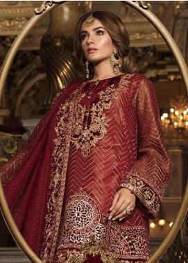 Maria B Embroidered Organza Unstitched 3 Piece Suit MB18-W1 03 - Wedding Collection
