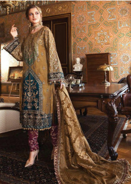 Maria B Embroidered Zari Net Unstitched 3 Piece Suit MB20WD 01 - Wedding Collection
