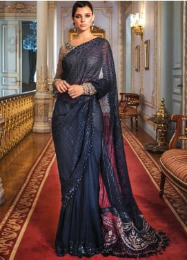 Maria B Embroidered Chiffon Unstitched Saree MB20WD 04 - Wedding Collection