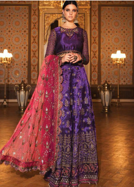 Maria B Embroidered Zari Net Unstitched 3 Piece Suit MB20WD 07 - Wedding Collection
