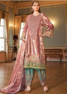 Maria B Embroidered Tissue Unstitched 3 Piece Suit MB20WD 08 - Wedding Collection