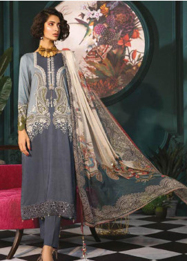 Maria B Embroidered Linen Unstitched 3 Piece Suit MBP19WE 703 A - Winter Collection