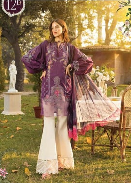 Maria B Embroidered Lawn Unstitched 3 Piece Suit MB20S 12B - Summer Collection