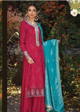 Maria B Embroidered Cotton Satin Unstitched 3 Piece Suit MB18CS 02 - Fall Winter Collection