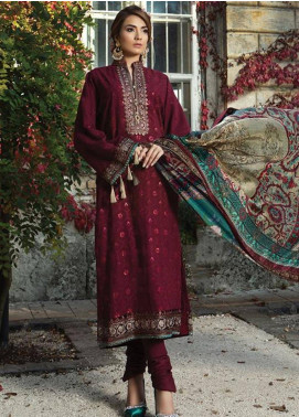 Maria B Embroidered Cotton Satin Unstitched 3 Piece Suit MB18CS 06 - Fall Winter Collection