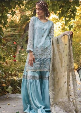 Maria B Embroidered Cotton Satin Unstitched 3 Piece Suit MB18CS 07 - Fall Winter Collection