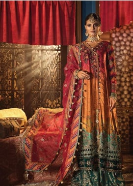 Maria B Embroidered Charmeuse Silk Unstitched 3 Piece Suit MB19WE 1804 - Wedding Collection