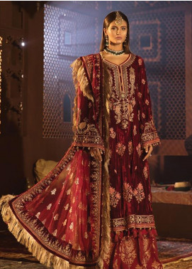 Maria B Embroidered Velvet Unstitched 3 Piece Suit MB19WE 1807 - Wedding Collection