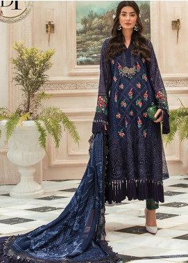 Maria B Embroidered Organza Unstitched 3 Piece Suit MR20M D 01 - Luxury Collection