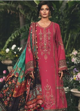 Maria B Embroidered Cotton Satin Unstitched 3 Piece Suit MB20W 202 Hot Coral - Winter Collection