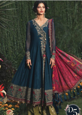 Maria B Embroidered Cotton Satin Unstitched 3 Piece Suit MB20W 205 Teal - Winter Collection
